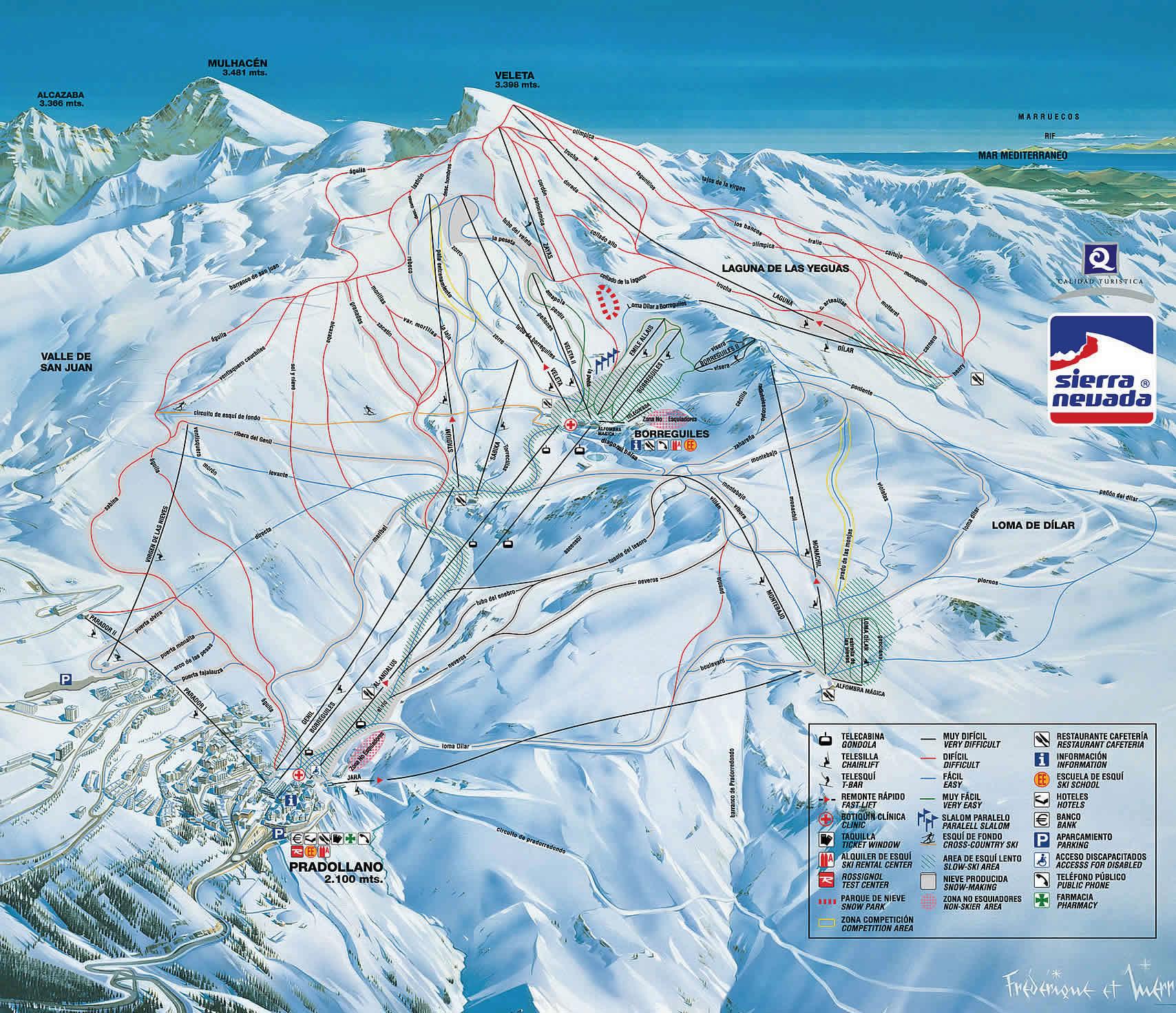 Схема лыжных трасс на склонах Сьера Невада