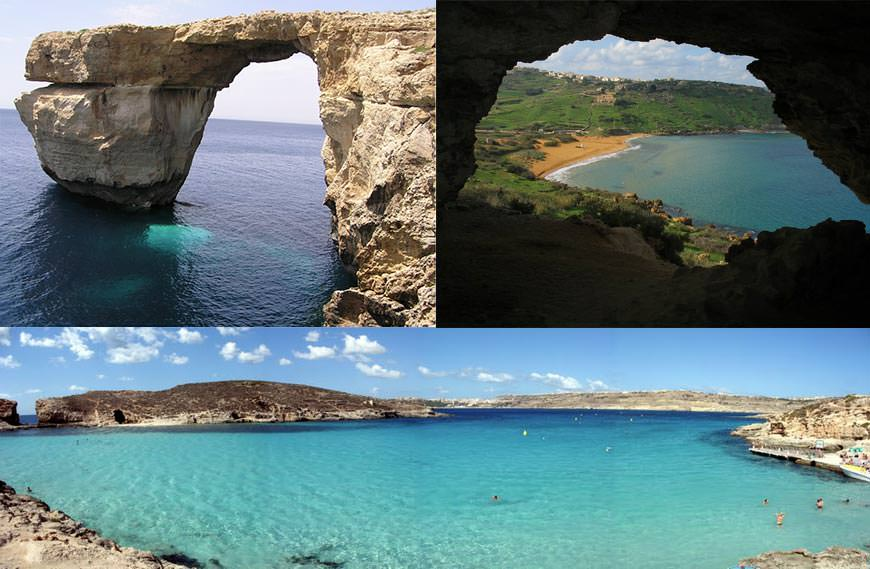 Азурное окно (Azur Window),пещера Калипсо,Голубая Лагуна (Blue Lagoon)